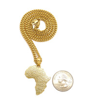 14k Gold Textured Mother Africa Cuban Chain Pendant