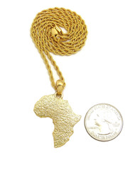 14k Gold Textured Mother Africa Rope Chain Pendant