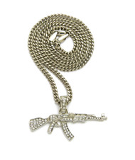 .925 Sterling Silver Ak 47 Simulated Diamond Chain Pendant