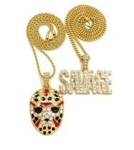 14k Gold Savage Hockey Mask Pendant Hip Hop Chain