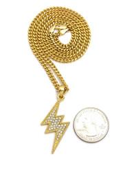14k Gold Diamond Cz Lightning Bolt Hip Hop Cuban Chain Pendant