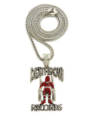 .925 Silver 3D Simulated Diamond Franco Link Death Row Pendant