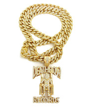 14k Gold Simulated Diamond Iced Out Cuban Link Death Row Pendant
