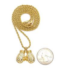 14k Gold Simulated Diamond Golden Boxing Gloves Chain Pendant