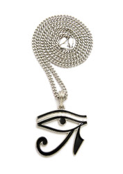 Eye Of Ra Black Enameled Micro Pendant .925 Silver