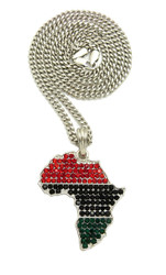 Multi Colored Simulated Diamond Africa Pendant .925 Silver