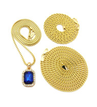 Blue Onyx Box Rope Cuban Link Chain Hip Hop Chain Set