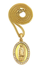 Deep Set Virgin Mary Simulated Diamond Pendant 14k Gold