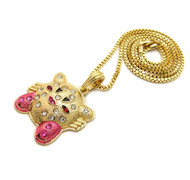 Diamond Cz Super Mario Kirby Pendant 14k Gold