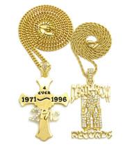 Hip Hop 14k Gold Diamond Cz Death Row 2 Pac Chain Set
