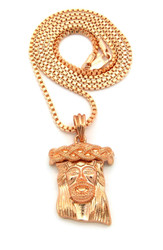 Rose Gold Jesus Piece Hip Hop Chain Pendant