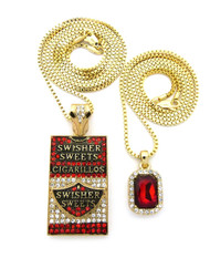 Hip Hop 14k Gold Swisher Sweets Gemstone Pendant Set
