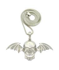 Skull Bat Wings Hip Hop Pendant .925 Silver Chain Necklace