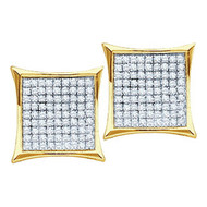 10k Iced Out Yellow Gold 0.05 CTW Diamond Micro Pave Stud Earrings