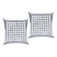14k White Gold 0.05Ctw Round Diamond Micro Pave Hip Hop Earrings
