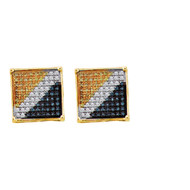10k Yellow Gold Hip Hop Bling 0.05Ctw Diamond Micro Pave Earrings