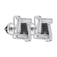 Black Clear Iced Out 925 0.03Ctw-Diamond Micro-Pave Earrings