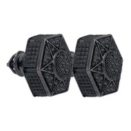 Black Hematite Iced Out  0.20Ctw Diamond Micro-Pave Earrings