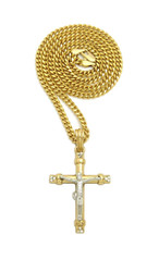 Two Tone Simulated Diamond Jesus Cross Chain Pendant