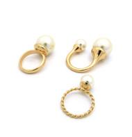 Ladies 14k Gold Pearl Knuckle Ring Set