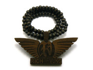 Rich Yung Wooden Hip Hop Pendant Beaded Chain Brown