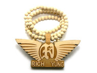 Rich Yung Wooden Hip Hop Pendant Beaded Chain Natural