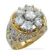 Mens Gold Iced Out Diamond Cz Nugget Bling Ring