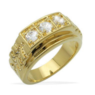 Mens Iced Out Players Circle Diamond Cz Bling Ring Gold