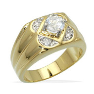 Mens Hip Hop Diamond Cz Floating Stone Bling Ring Gold