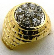 Hip Hop Super Star Cubic Zirconia Iced Out Ring Gold