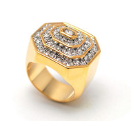 Mens Iced Out Pyramid Stone Bling Ring Gold
