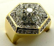 Mens 14k Gold GP Hexagon Iced Out Bling Hip Hop Ring