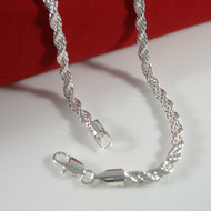4mm 20 Inch .925 Silver Rope Hip Hop Chain Necklace