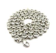 Rhodium Ballers Iced Stone Chain 7mm 22 Inch