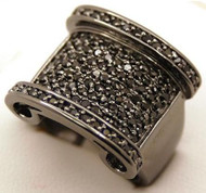 Men's Black Diamond Cz Stone Hip Hop Baja Bling Ring