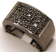 Mens Iced Out Classic Black on Black Diamond Cz Ring