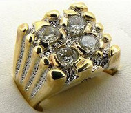 Gold 4 Stone Iced Out Simulated Diamond Ring