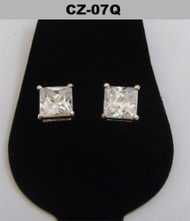 Silver 7mm Princess Cut Diamond Cz Iced Out Earrings