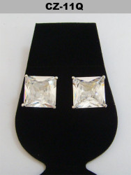 Silver 11mm Princess Cut Iced Out Diamond Cz Earrings
