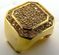 Men's Double Octagon Hip Hop Bling Ring Gold