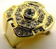 Iced Out Concave Raised Center Stone Diamond Cz Ring Gold