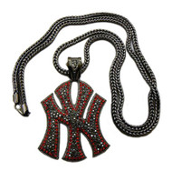 Red & Black Daimond Cz Stone NY New York Iced Out Pendant w/ Chain