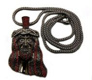 Red / Black / Clear Genuine Diamond Cz Stone JESUS Face Pendant