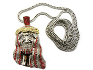 Red / Clear Iced Out Diamond Cz JESUS Face Pendant