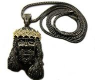 Men's Iced Out Black Hematite & 14k Gold GP Jesus Piece Pendant