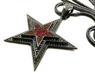 Red Cz Stone Original Hood Star Iced Out Pendant Black