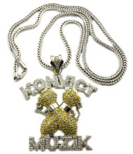Konvict Music Diamond Cz Clear / Yellow Stone Iced Out Pendant