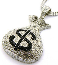Rhodium Silver Diamond Cz Money Bag Hip Hop Pendant