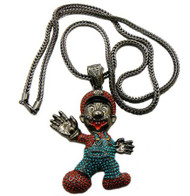 Diamond Cz Iced Out Super Mario Black Hematite Pendant