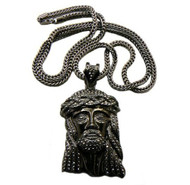 Hip Hop Black JESUS Piece Old Look Iced Out Bling Pendant